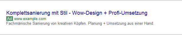 Beispielanzeige AdWords