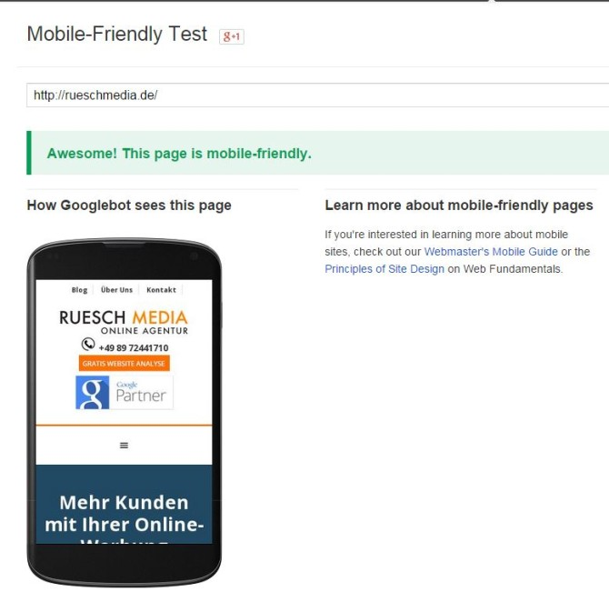 google-mobile-optimierte website